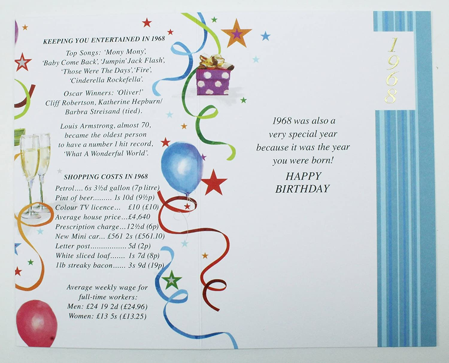 50 Today 1968 Special Year Born Happy Birthday Card Facts Quality