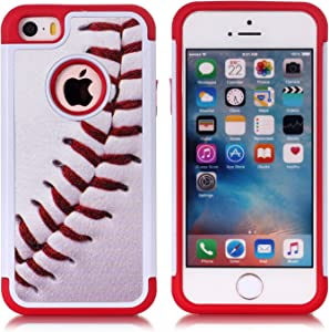 Iphone 5S Case,Iphone SE Case - Baseball Sports Pattern Shock-Absorption Hard PC and Inner Silicone Hybrid Dual Layer Armor Defender Protective Case Cover for Apple iphone 5/5S iphone SE
