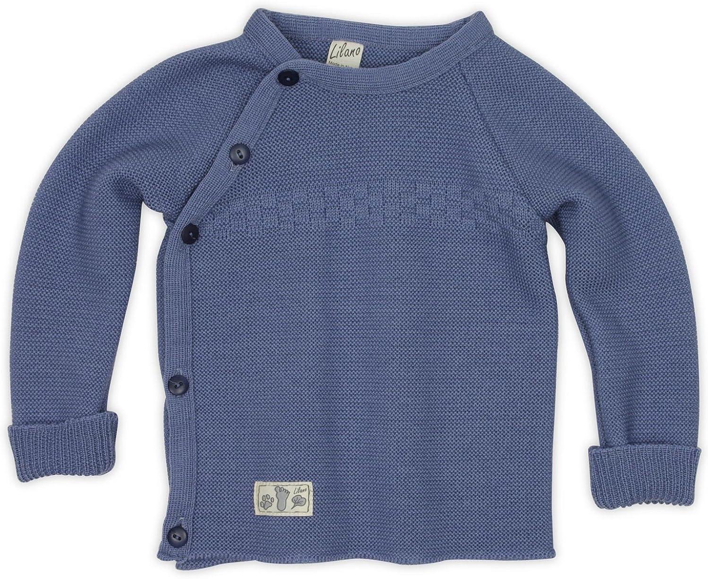 Lilano Pullover gestrickt mit seitlicher Knopfleiste aus 100/% kbT-Schurwolle