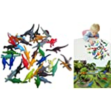 Collectable Vinyl Mini Dinosaur Set of 36 - Assorted Novelty Mini Prehistoric Animal Figurines | Party Favor Variety Pack 36 Count of Small Dinosaurs for Kids Birthday Parties and Festivities