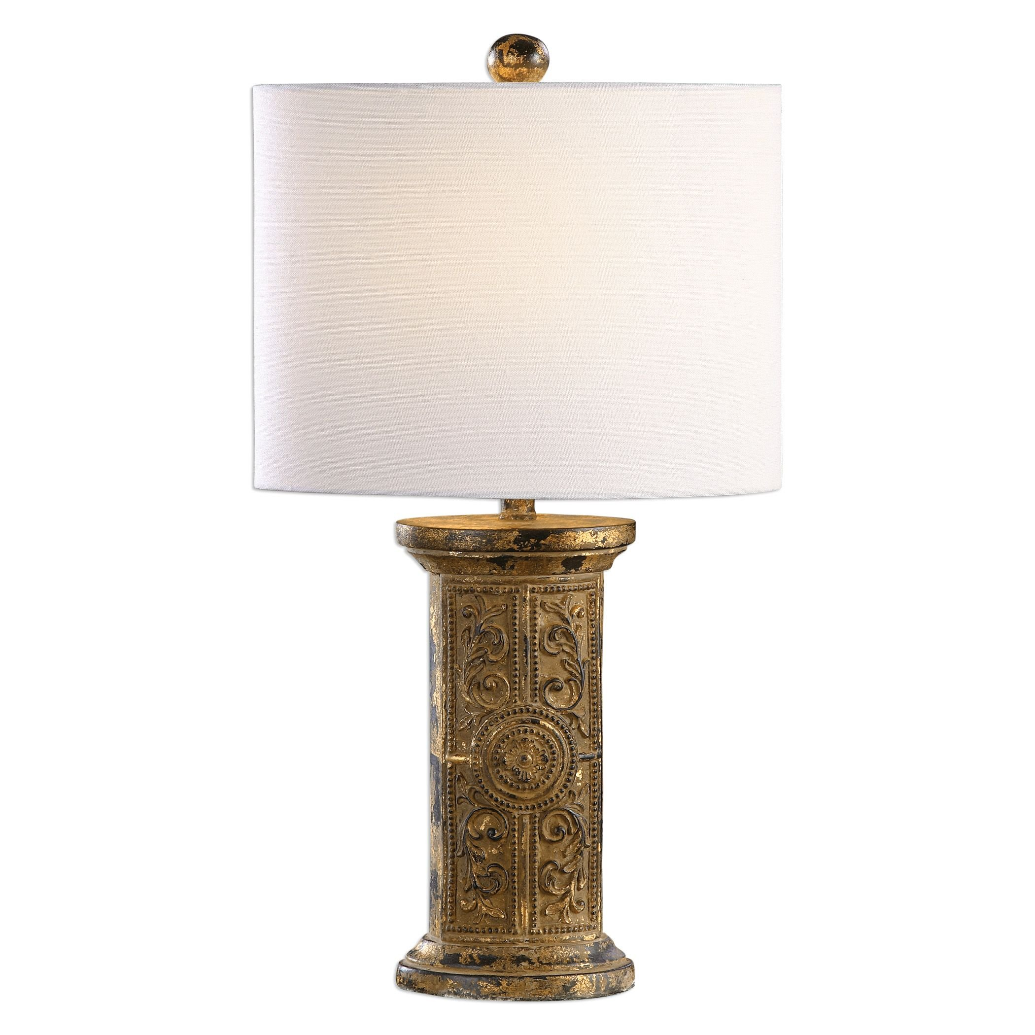 Embossed Rustic Scroll Gold Brass Table Lamp | Beaded Metal Antique Style