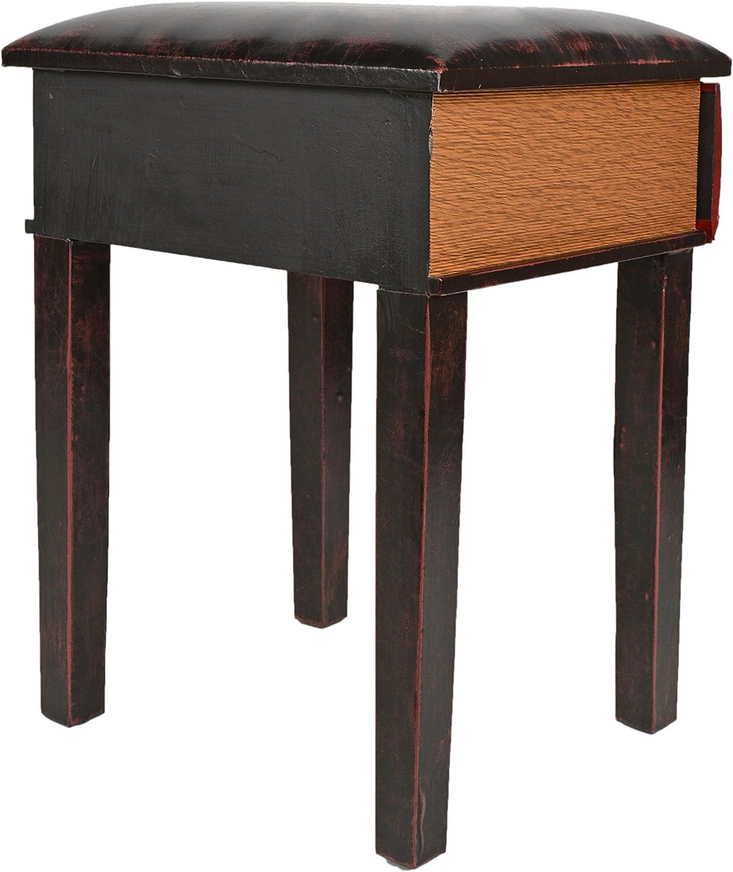 ts-ideen Taburete banqueta asiento sof/á banco de corredor estilo de vintage libros rustico rojo con un caj/ón