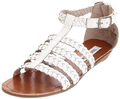 Steve Madden Women's Paggan T-Strap Sandal,White,6.5 ...