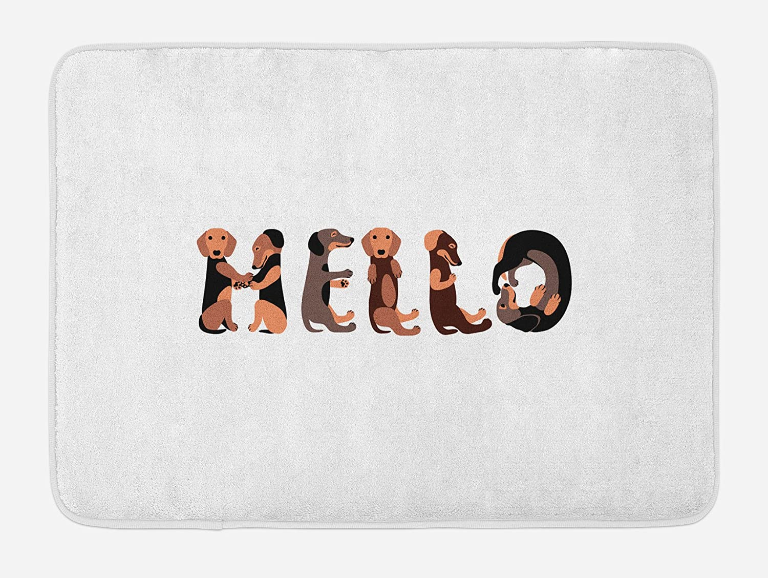 "Ambesonne Dachshund Bath Mat, Dachshund Puppies Spelling The Word Hello Animal Font Design, Plush Bathroom Decor Mat with Non Slip Backing, 29.5"" X 17.5"", Caramel Brown"