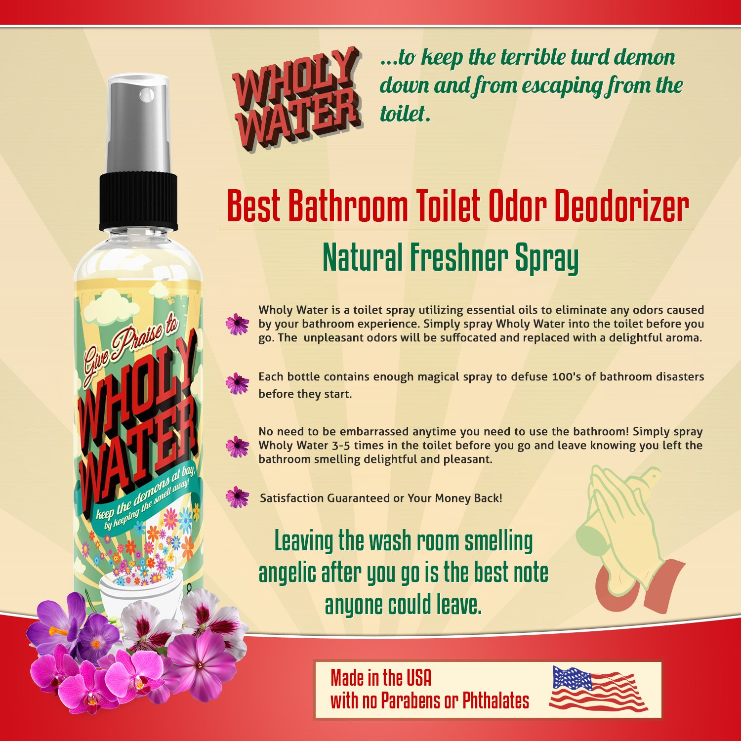 Amazoncom Wholy Water Best Bathroom Clean Toilet Spray Cleaner