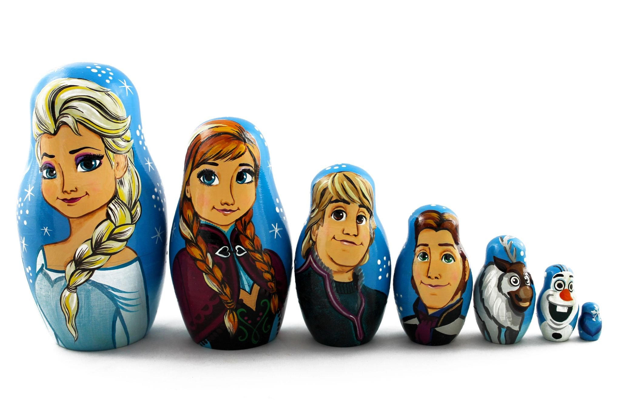 Matryoshka Russian Nesting Doll Babushka Beautiful Cartoon Characters Frozen Elsa Elza 7 Pieces Pcs Wooden Hand Painted Souvenir Craft Gift by MATRYOSHKA&HANDICRAFT