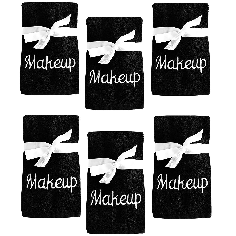 Juego de 6 Toallas Bordadas de algodón para Remover y Limpiar Maquillaje, Color Negro con Bordado Blanco: Amazon.es: Hogar