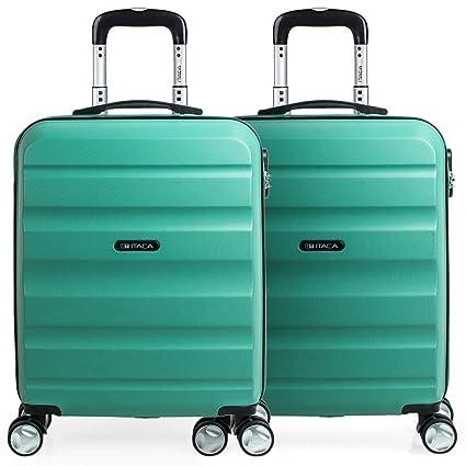 ITACA - Set 2 Maletas Pequeñas para Viaje en Pareja. Rígidas 4 Ruedas 55x40x20 cm Cabina Trolley ABS. Equipaje de Mano. Cómodas y Ligeras. Ryanair. ...