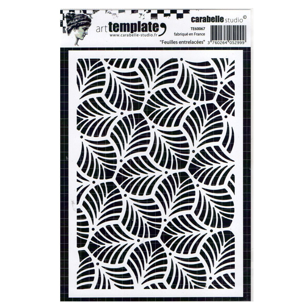 Carabelle Studio TE60067 Interlaced Leaves Template A6, Multicolor