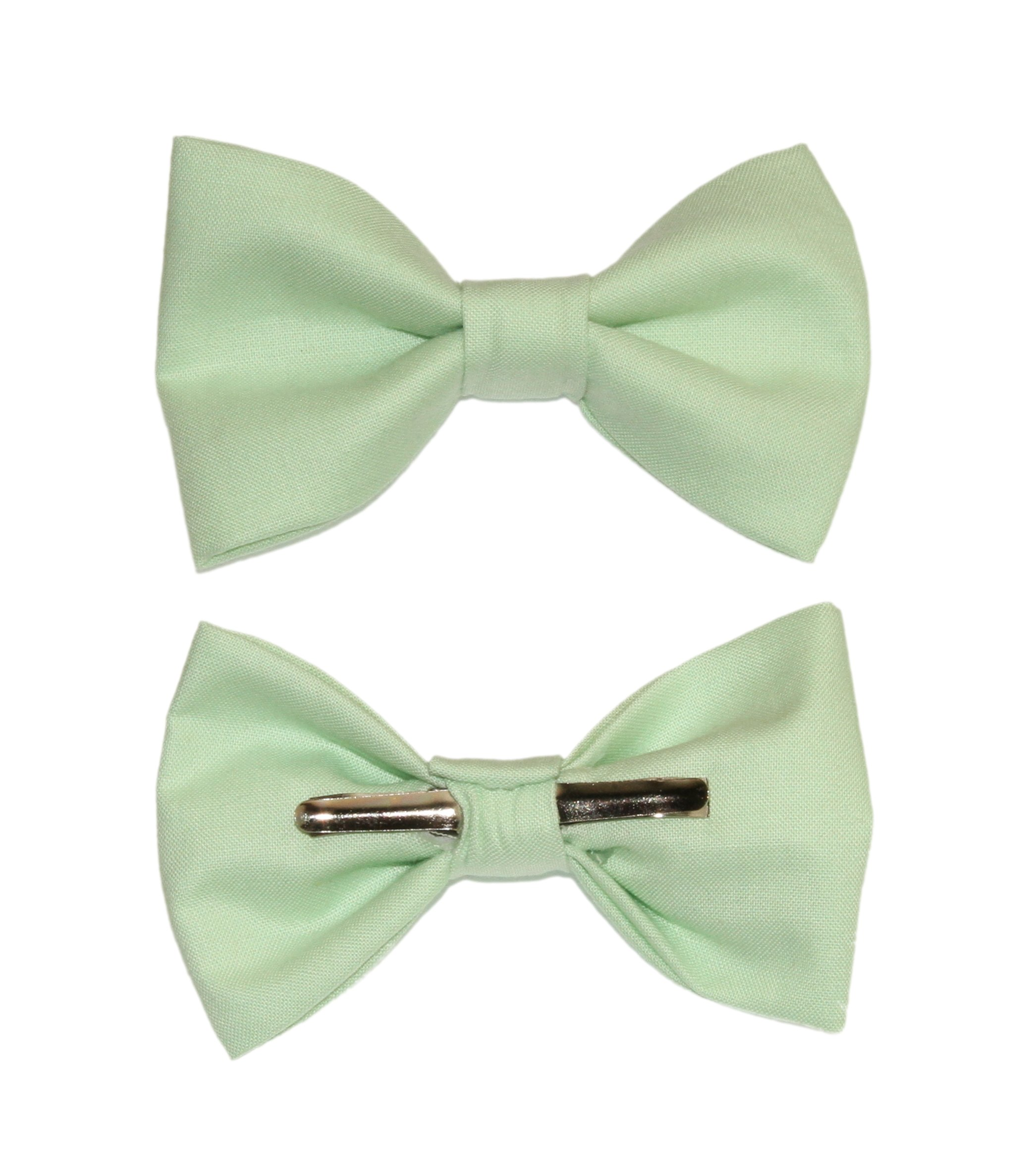 amy2004marie Boys Mint Green Clip On Cotton Bow Tie