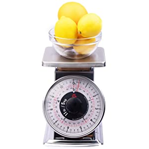 Tada Precise Portions Analog Food Scale (11 Pounds, Flat Top) - Stainless Steel, Removable Top, Tare Function, Retro Style, Kitchen Friendly