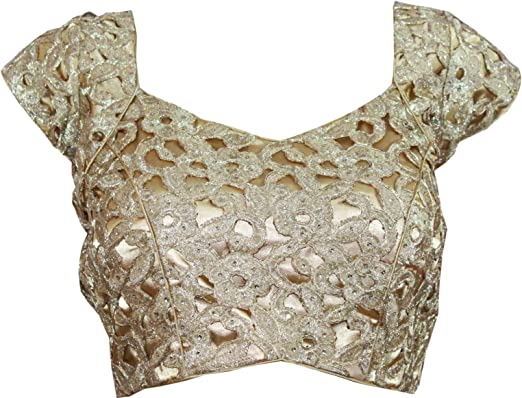 New Designer Printed Wedding Princess Cut Stitched Front Open Readymade Party Wear Stitched Blouse Crop Top Blouse For Sari For Women