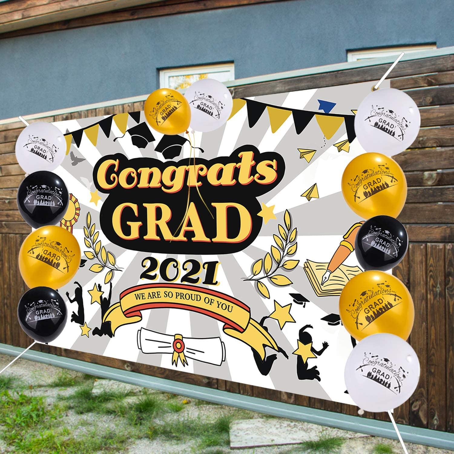 Large Graduation Banner with Balloons 2021 Graduation Backdrop for College High School Graduation Decorations Party Supplies Indoor Outdoor Graduation Banner Decorations Balloons Class of 2021