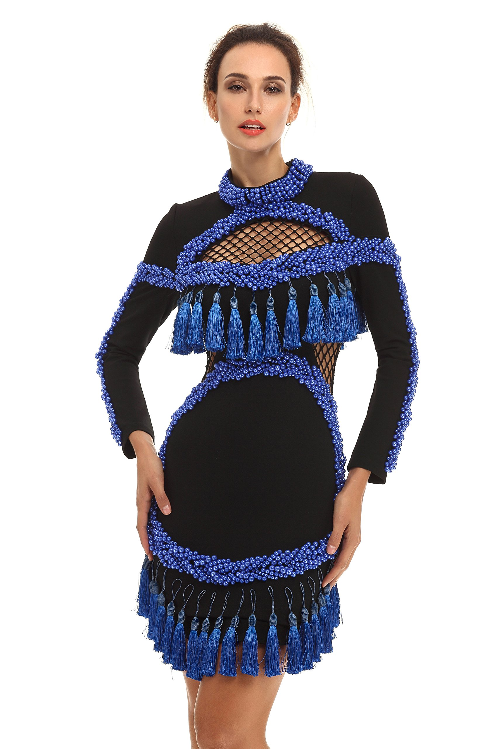 Whoinshop Women's Beaded and Tasseled High Neck Hollow-out Long Sleeve Mini Club Dress Blue S