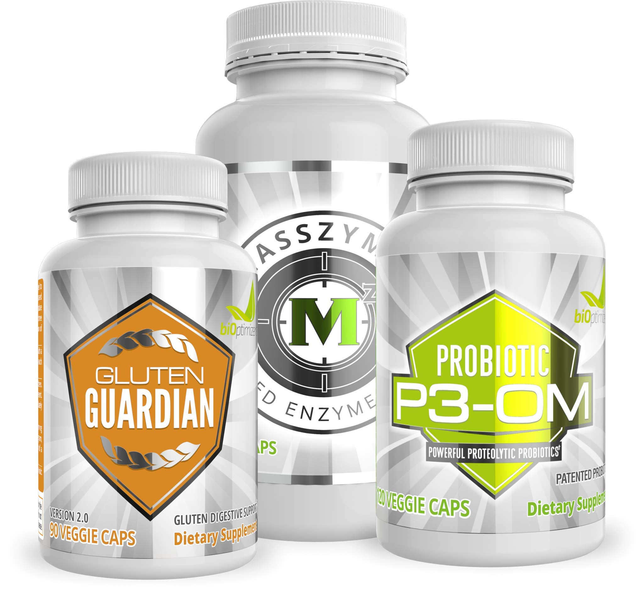 BiOptimizers Ultimate Digestive Solution Bundle - P3-OM - Gluten Guardian - MassZymes - Doctor-Fomulated