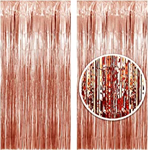 3.25 x 6.7 ft (2 Pack) Tinsel Foil Fringe Curtains Party Decorations Photo Booth Backdrop | Wedding Décor Baby Shower Graduations Valentine Day Bachelorette Birthday Decorations (Rose Gold)