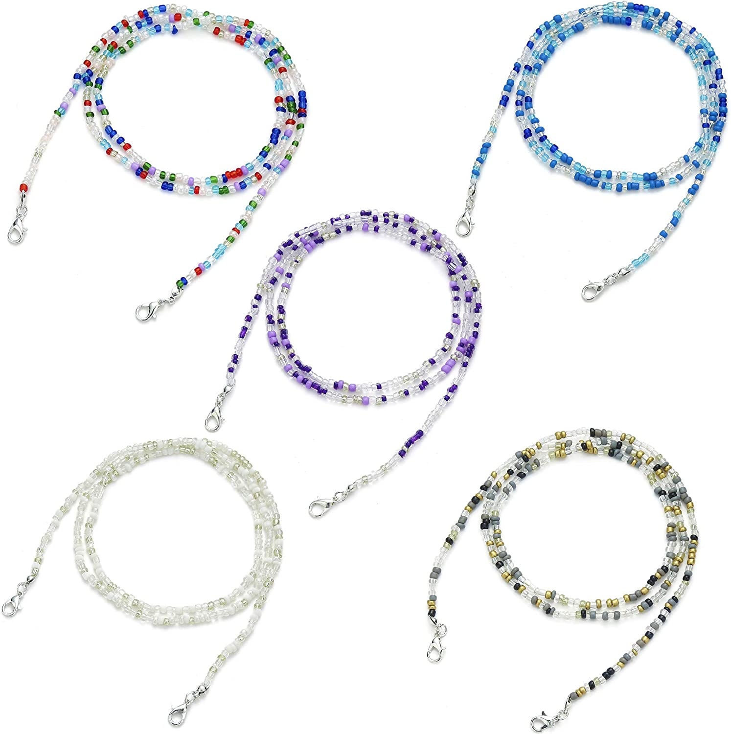 Glaring 4-5 Pack Face Mask Lanyard Chain Strap Colorful Beads Chain Holder for Women Kids Comfortable Around The Neck