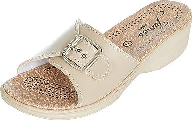 Womens Ladies Summer Sandals Comfort Walking Low Wedge Slip On Beach Shoes Size