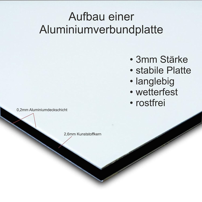 3mm Aluverbund Melis Folienwerkstatt Schild 15x10cm Bohrl/öcher Fahrr/äder schieben S00050-028-B -20 Varianten