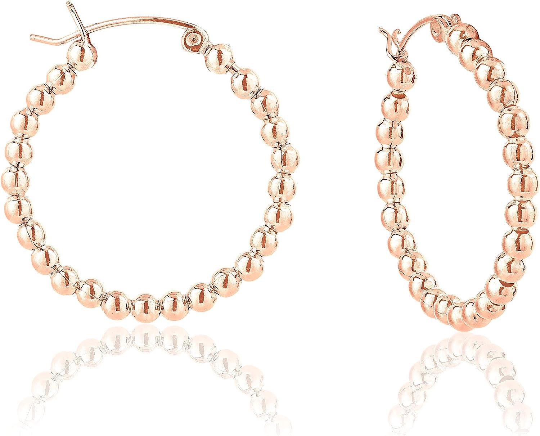 DTP Silver - Pendientes de Aro de mujer - Creoles con bolas - Plata 925 Plateada en Oro Rosa - Espesor 3 mm - Diámetro 25, 30, 40, 50 mm