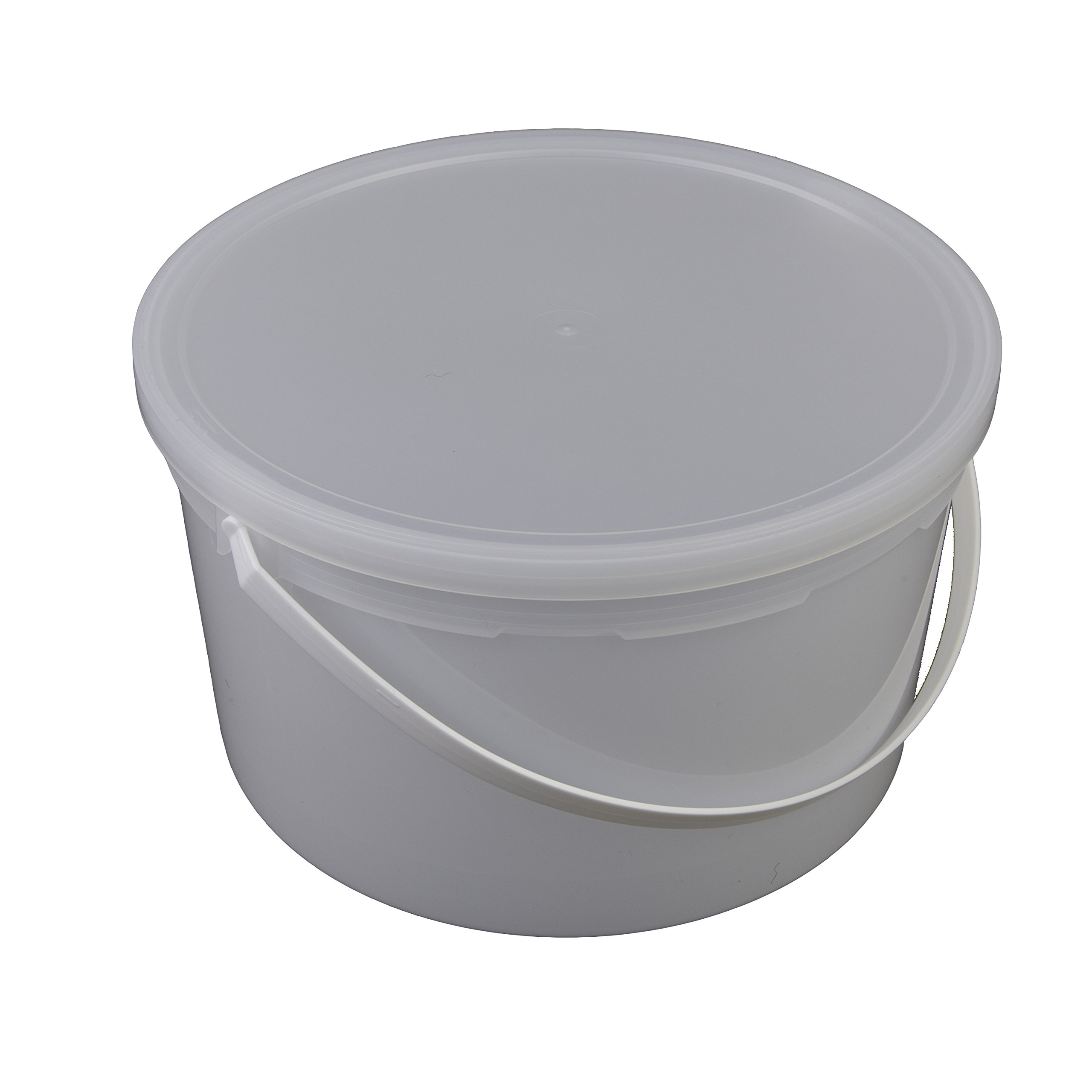 Consolidated Plastics Pail with Handle, HDPE, 4 Quart, Natural, 10 Piece