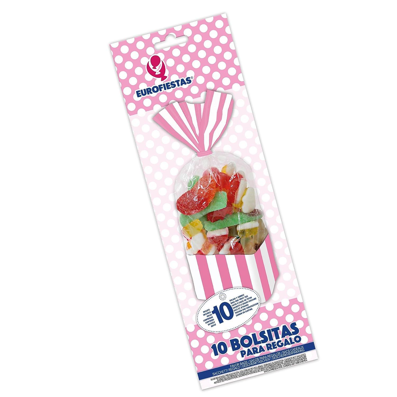 EuroFiestas Bolsas rectangulares Rosas para chuches 10 Unidades