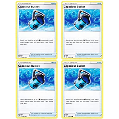 Pokemon - Capacious Bucket - Rebel Clash x4 Card Playset - 156/192 Uncommon: Toys & Games