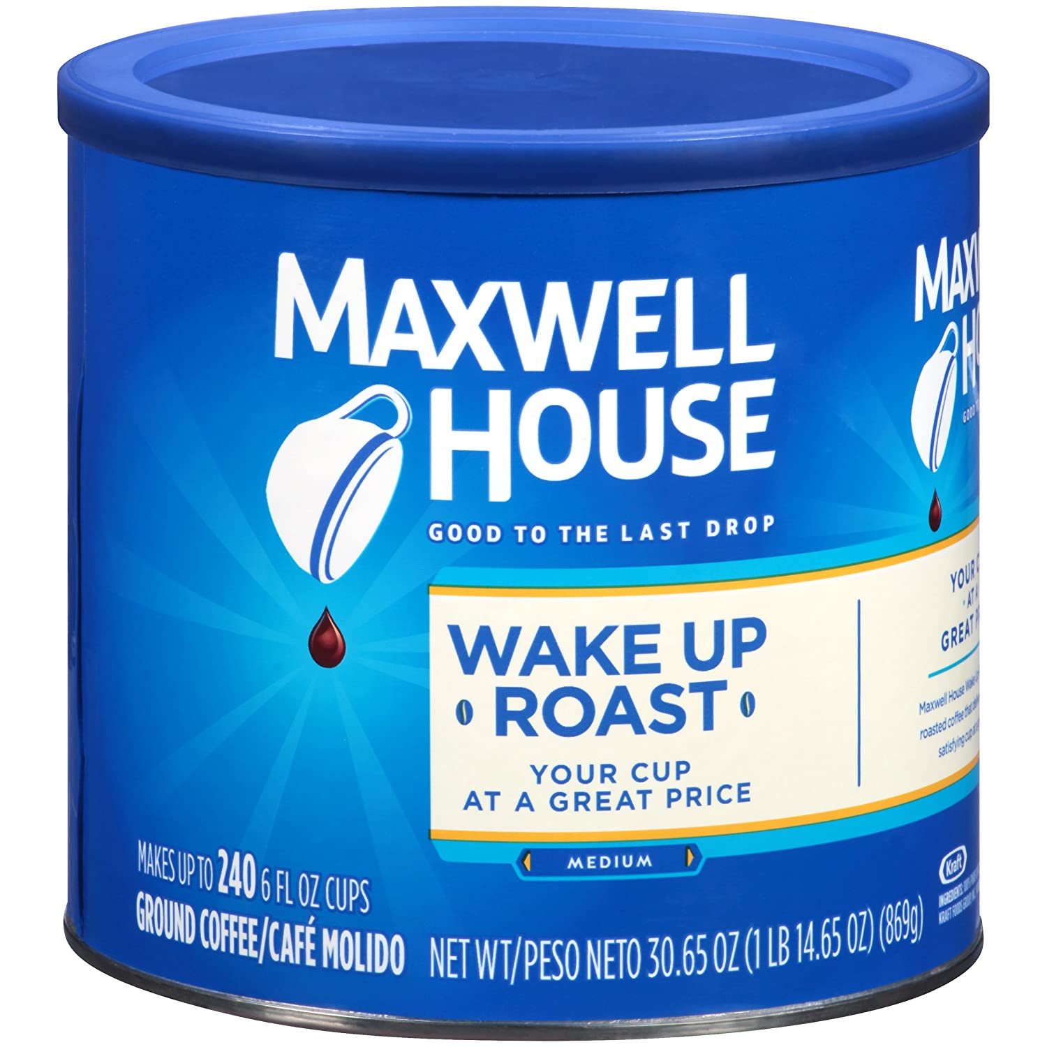Maxwell House Wake Up Roast Medium Ground Coffee, Caffeinated, 30.65 oz Can