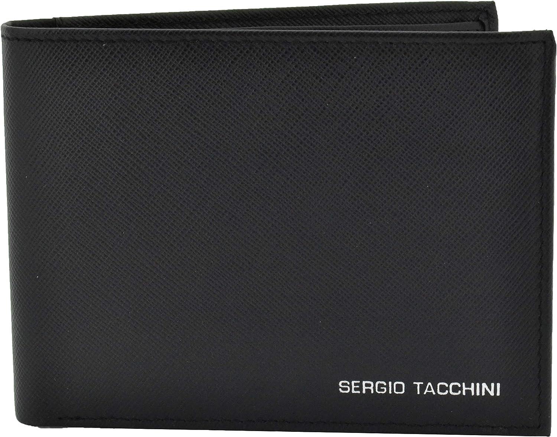 Sergio Tacchini, Cartera para hombre en cuero genuino, negro delgado, delgado con tarjetero, caja de regalo