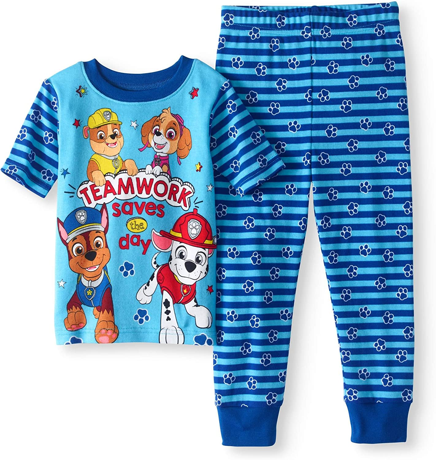 "Paw Patrol snug fit PJs  /""Teamwork saves the day/"""