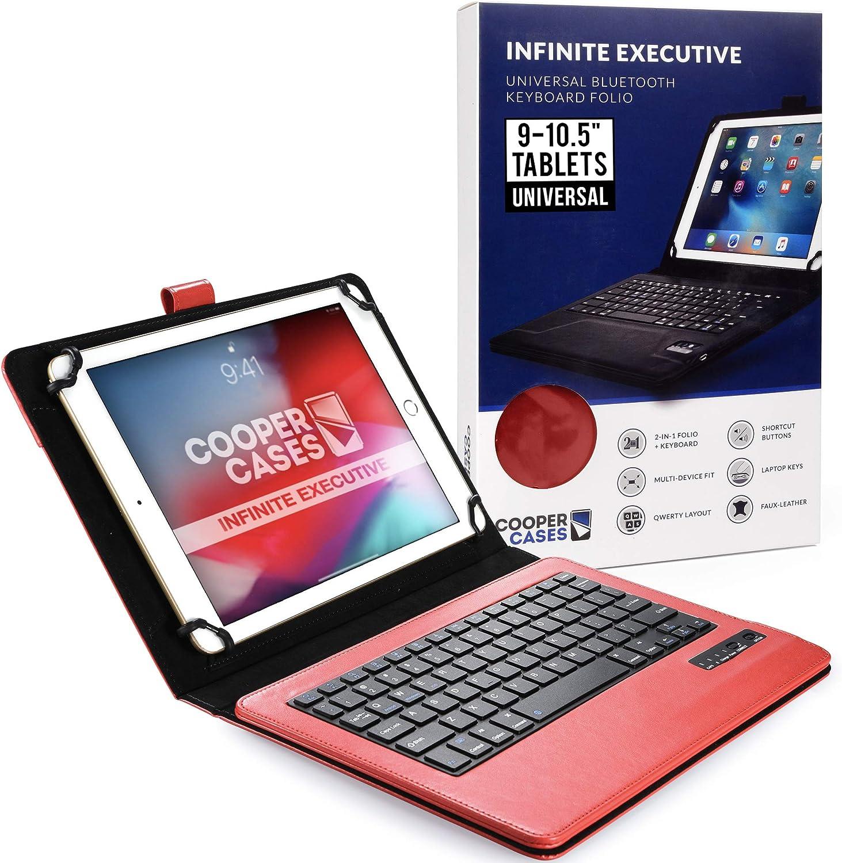 Cooper Infinite Ejecutivo Funda con Teclado para Tableta de 9 a 10,5 Pulgada | Universal | 2-in-1 Bluetooth Keyboard e Cuero Foglio Case (Roju)