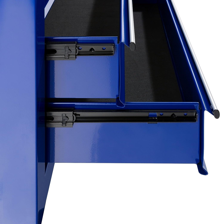 mecanismo de cierre central 9 compartimentos alfombrillas antideslizantes color rojo y negro accesorio para maleta m/óvil y extra/íble AREBOS Carro de taller con ruedas metal macizo