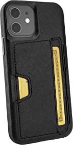 Smartish iPhone 12/12 Pro Wallet Case - Wallet Slayer Vol. 2 [Slim Protective Kickstand] Credit Card Holder (Silk) - Black Tie Affair