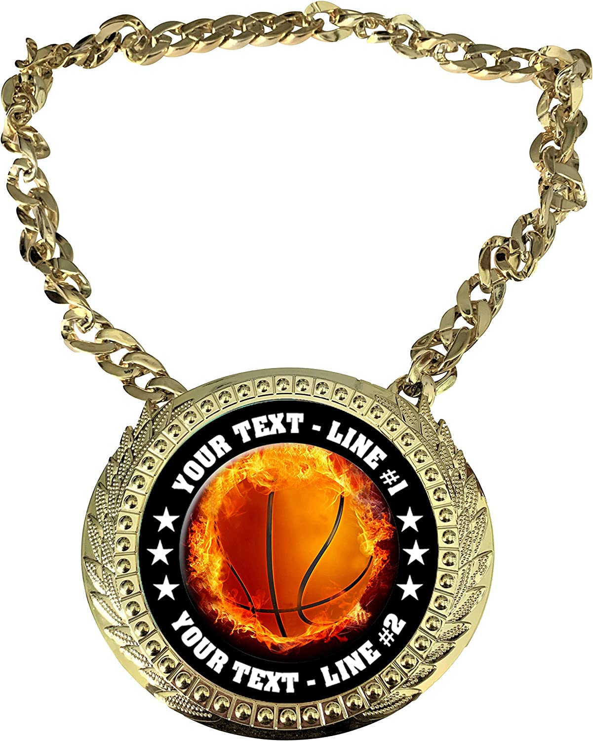 EMFCL803 Express Medals Custom Flame Basketball Champ Chain Trophy with 2 Lines of Personalized Text on a Large Rigid Plastic Award Medal and 34 Inch Long Gold Color Neck Chain