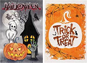 Bonsai Tree 2 Pack Halloween Garden Flag, Double Sided Pumpkins Lantern Burlap House Flags 12x18 Prime, Spooky Black Cat Scary Ghosts Welcome Yard Signs Banners Farmhouse Home Outdoor Decorations