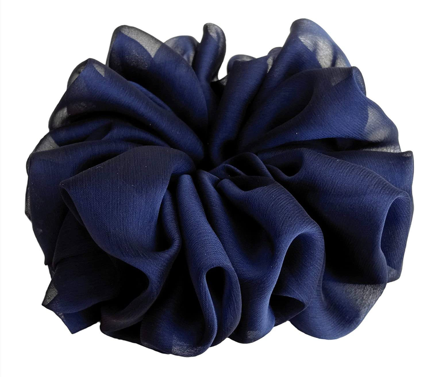 Midnight Navy Blue Large Chiffon Scrunchies Stylish Accessories Hair Band Ponytail Holder Teen Girls Women