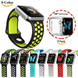 Chok Idea Watchband Strap For Apple Watch,[With Clear TPU Case],Nike+ Style Soft Silicone Sport Replacement Strap for Apple Watch Series 1/2,38mm/42mm,9 Colors