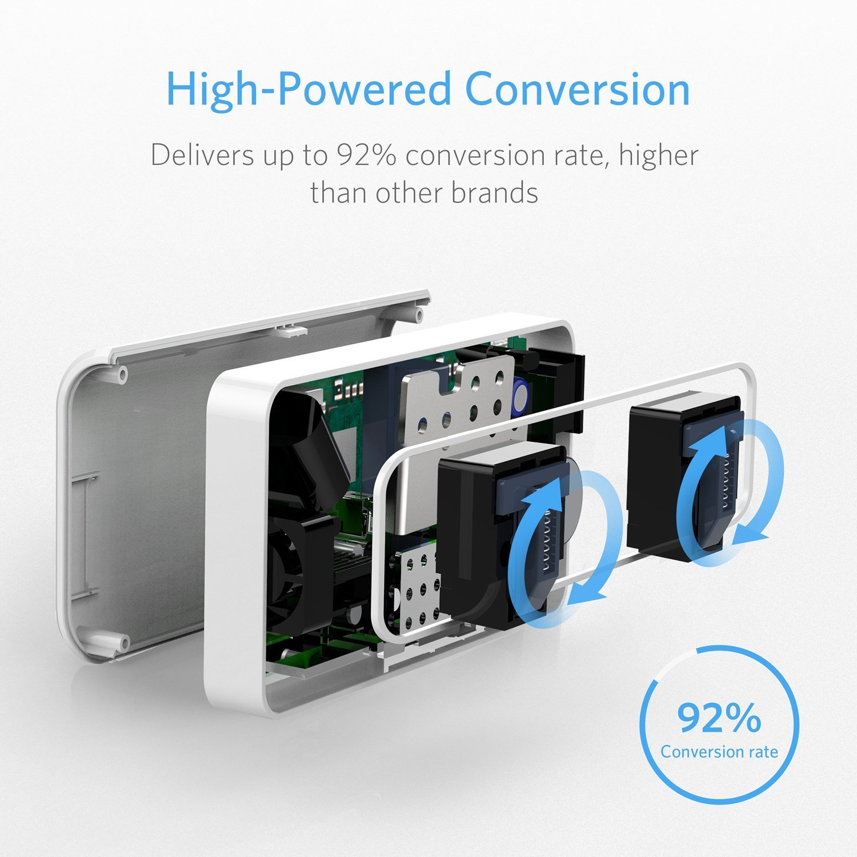 Adaptador Enchufe Universal, BESTEK 200W Transformador Viaje de 110V a 220V con Adaptador UK EU AU, 2 AC Enchufes y 4 Puertos Smart USB Multiprotección, ...
