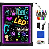 """Woodsam LED Drawing Painting Board - 24"""" x 16"""" Erasable Non Porous Glass Surface with 8 Fluorescent Window Markers-Best for C"""
