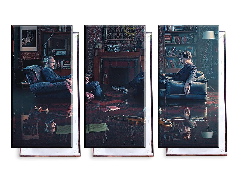 Sherlock Holmes - Dr. John Watson (Benedict Cumberbatch, Martin Freeman) - Dreiteiler (120x80 cm) - Bilder & Kunstdrucke fertig auf Leinwand aufgespannt und in erstklassiger Druckqualität