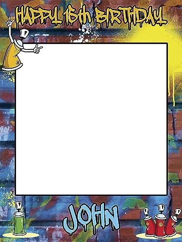 Large Custom Graffiti Birthday photo booth frame prop - Sizes 36x24, 48x36