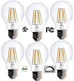 Bioluz LED Clear Edison Style Dimmable Filament , Light Bulb, 60 watt, Soft White (Pack of 6)