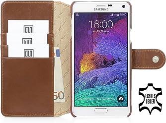 StilGut® Talis con bottote, custodia in pelle con scomparti interni per Samsung Galaxy Note 4, cognac