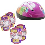 Pink Girls Childrens Combo Kids Helmet & Knee / Elbow Pad set ages 5 - 10 Cycling / Skating / Scooter / Bike