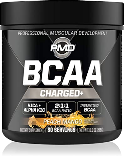 PMD Sports BCAA Charged Delicious Amino Acid Drink Mix for Performance and Recovery – Increase Muscle Function for Workout and Daily Energy – Peach Mango 30 Servings