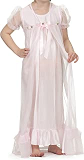 product image for Laura Dare Little Girls Short Sleeve Peignoir Nightgown Robe Set w Scrunch 2T-6X