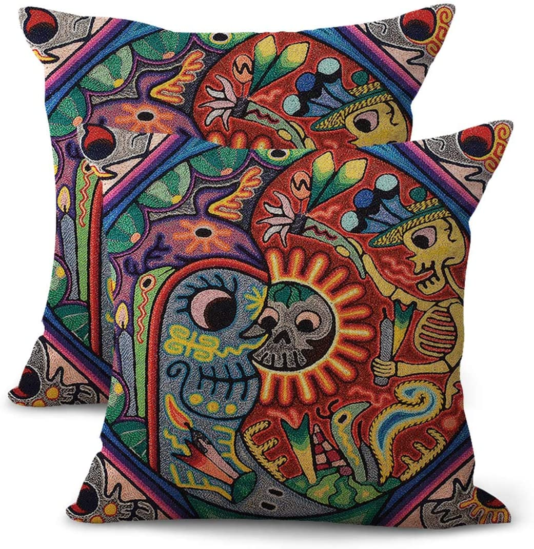 set of 2 Mexican Huichol yarn cushion throw pillow covers wholesale