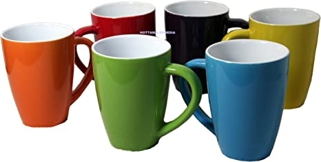 Amazon Com Button Candy Color Mug Set 14 5 Oz Each Set Of 6 Coffee Cups Coffee Cups Mugs