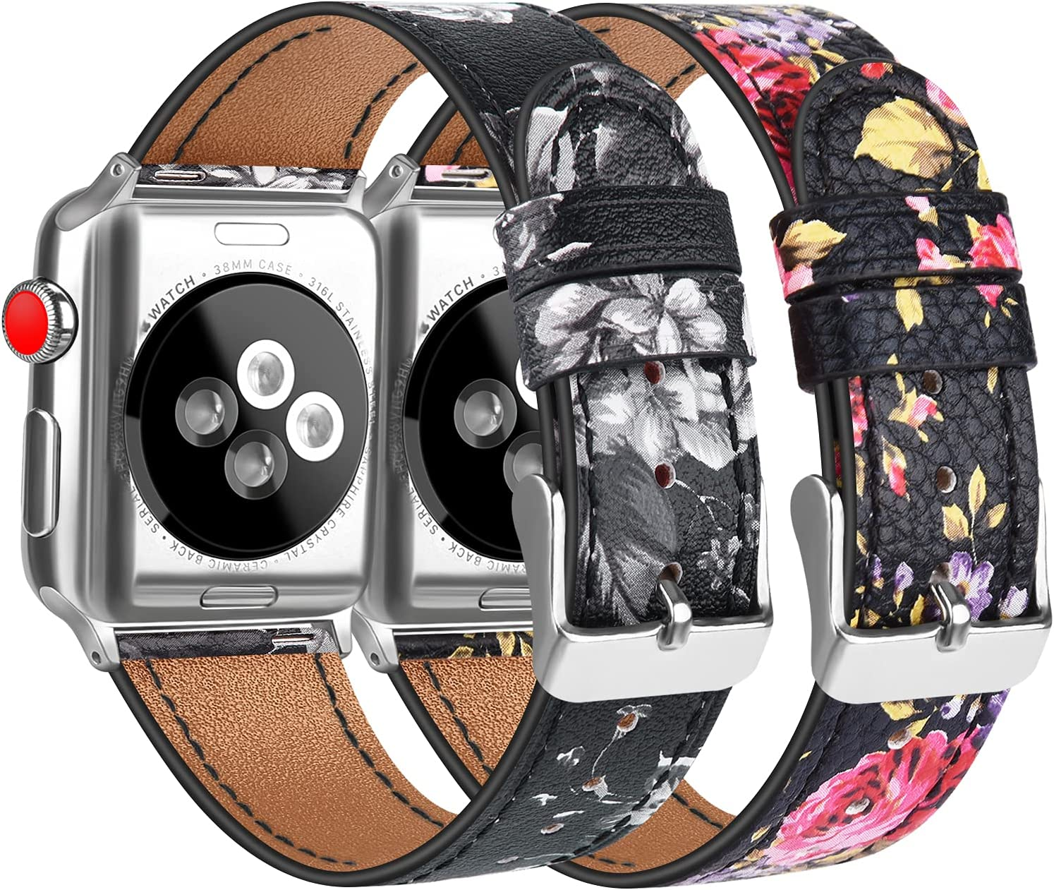 [2 Pack] Leather Bands Compatible with Apple Watch Bands 44mm for Women Men, Soft Leather Straps for iWatch SE & Series 6, Series 5, Series 4, Series 3, Series 2, Series 1, Flower Grey & Flower Pink
