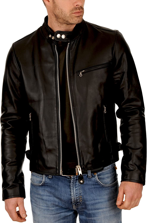 Kingdom Leather New Men Motorcycle Black Lambskin Leather Jacket Coat Size XS S M L XL X028